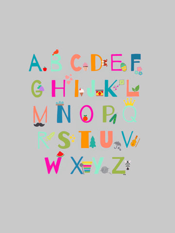Childrens Alphabet Art, Colorful Childrens Alphabet Art, Modern Alphabet Art Print for Kids, Kids Alphabet Art, Modern Art for Learning
