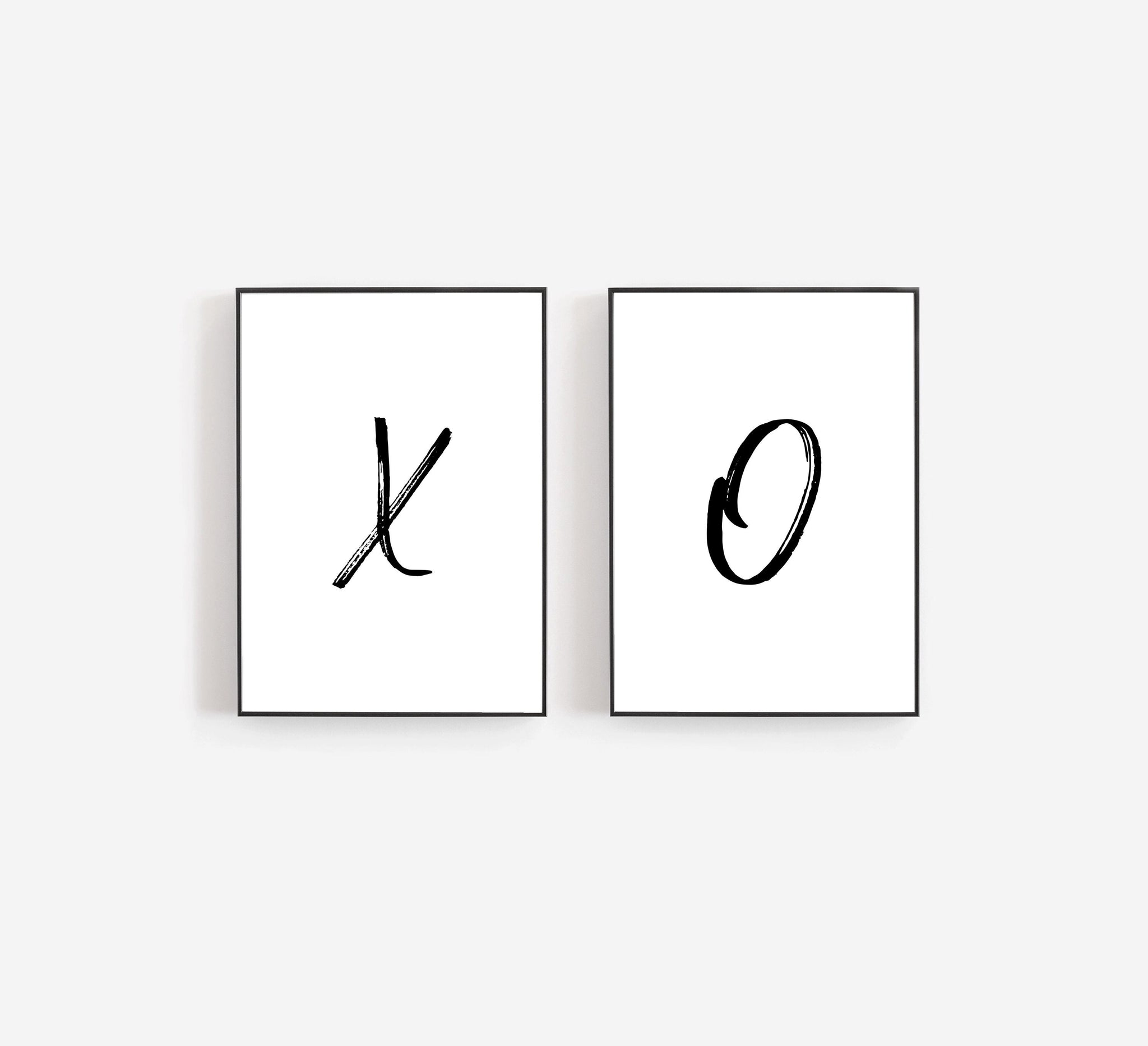 Set Of Two Prints, XO Art Print, XO Wall Art, Love Wall Decor, Bedroom Art Print,Bedroom Wall Decor,Brushstroke Typography, Black and White