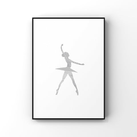 Dancer Art Print, Ballerina Wall Art, Gift for Dancer, Gift for Ballerina, Ballet Lover Gift, Minimalist Wall Art, Girls Bedroom Decor
