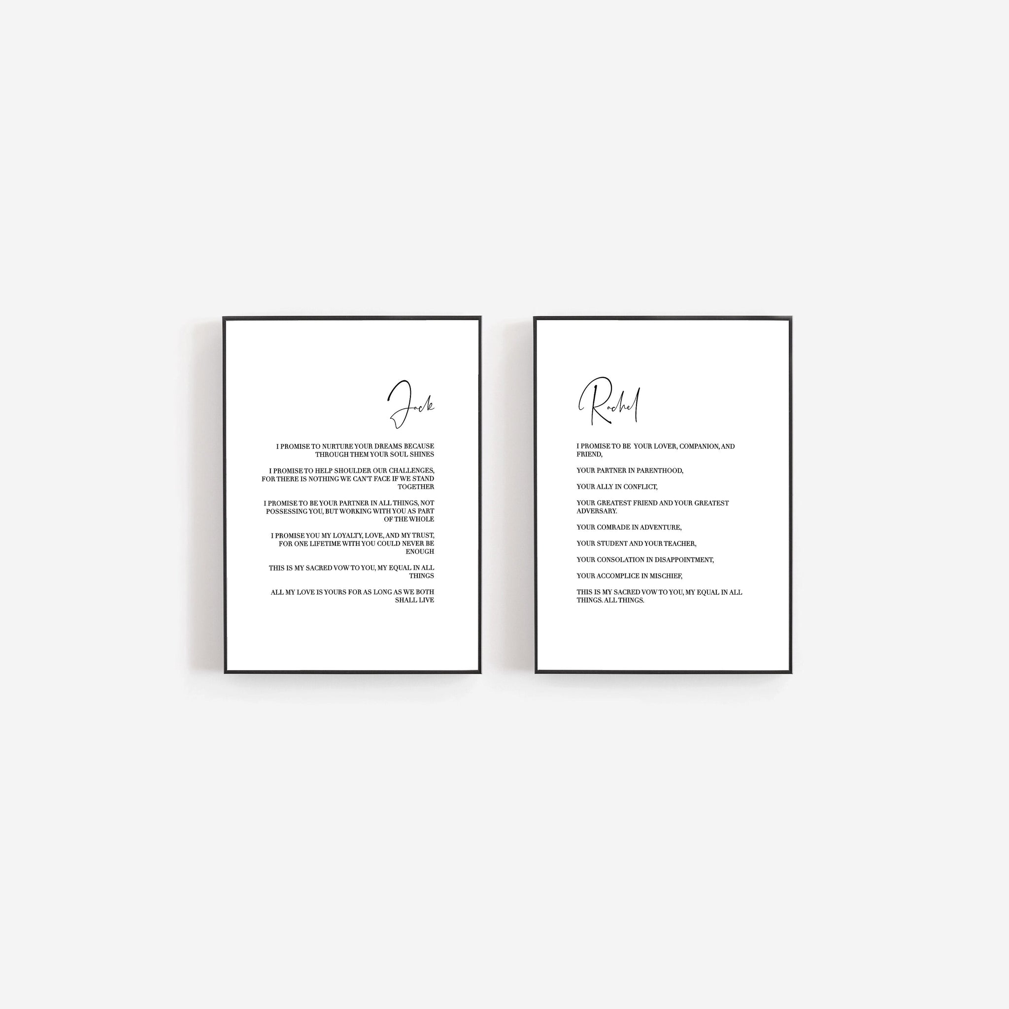 Custom wedding vows, Personalized marriage vow print, Wedding keepsake gift, First anniversary gift, Set of two prints, Couples gift
