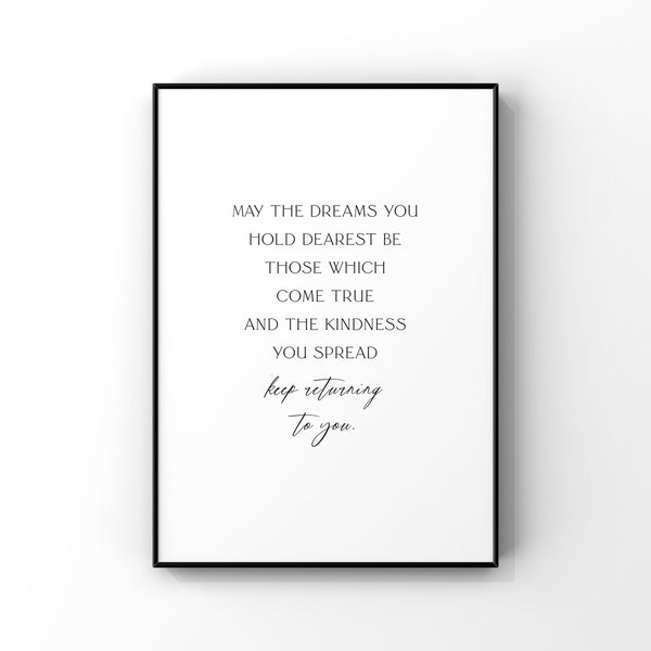 May the dreams you hold dearest,Be those which come true, St Patricks Day Decor, Irish Blessing Wall Art, Quote print, St Patricks Day print