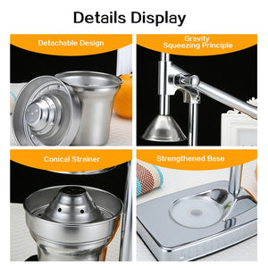 TINTON LIFE Juicer Machine Orange Squeezer Citrus Fruit Press Orange Juicer Manual Juicer Extractor Stainless Steel Dispenser