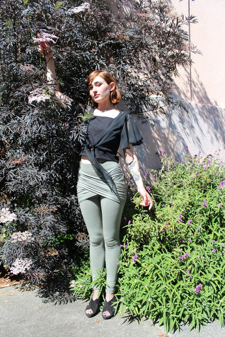 sustainable fashion, wrap leggings, olive leggings