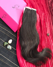 "Load image into Gallery viewer, Burgundy Tape-In Hair Extensions-18""-100g-Luisant Hair"