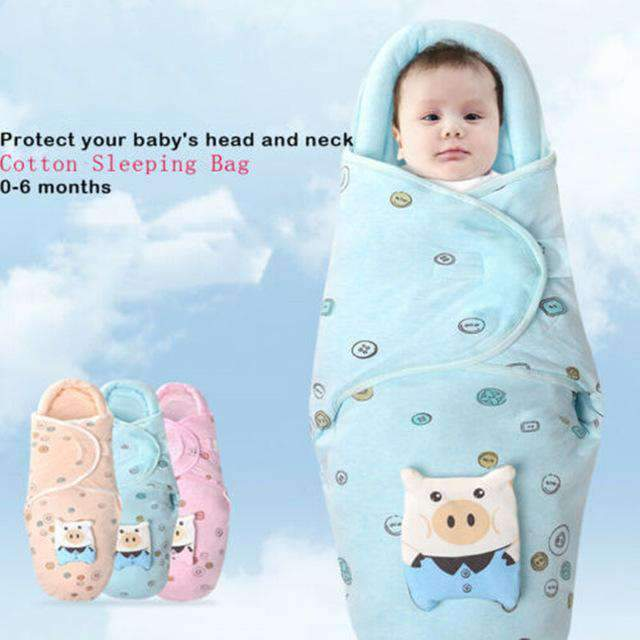 laylloo Baby Swaddle Wrap Blue Pig Swaddle Wrap Winter Warm for Newborn Babies