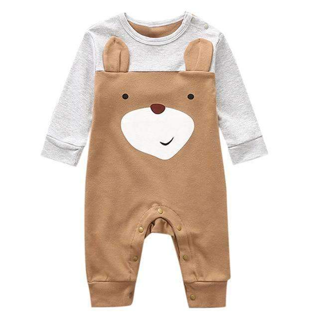 laylloo Rompers Brown / 3M Romper for Newborn Cartoon Animal Cotton