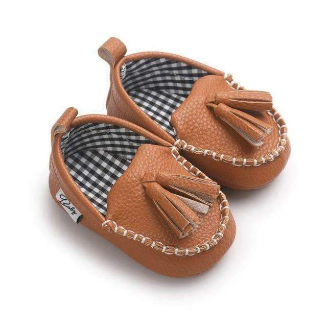 laylloo Shoes brownB / 7-12 Months Moccasin Baby Leather Shoes for Newborn