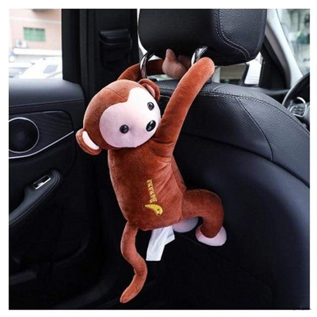 laylloo Coffee Creative Tissue Box Monkey Car Hanging Paper Napkin