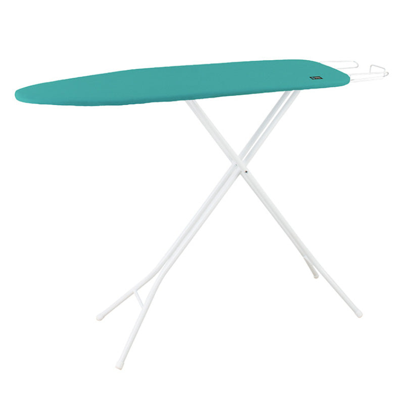 white ironing board with green ironing board cover