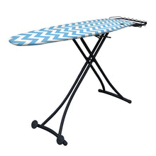 Load image into Gallery viewer, ironing board with light blue and white zig zag ironing board cover