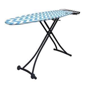 ironing board with light blue and white zig zag ironing board cover