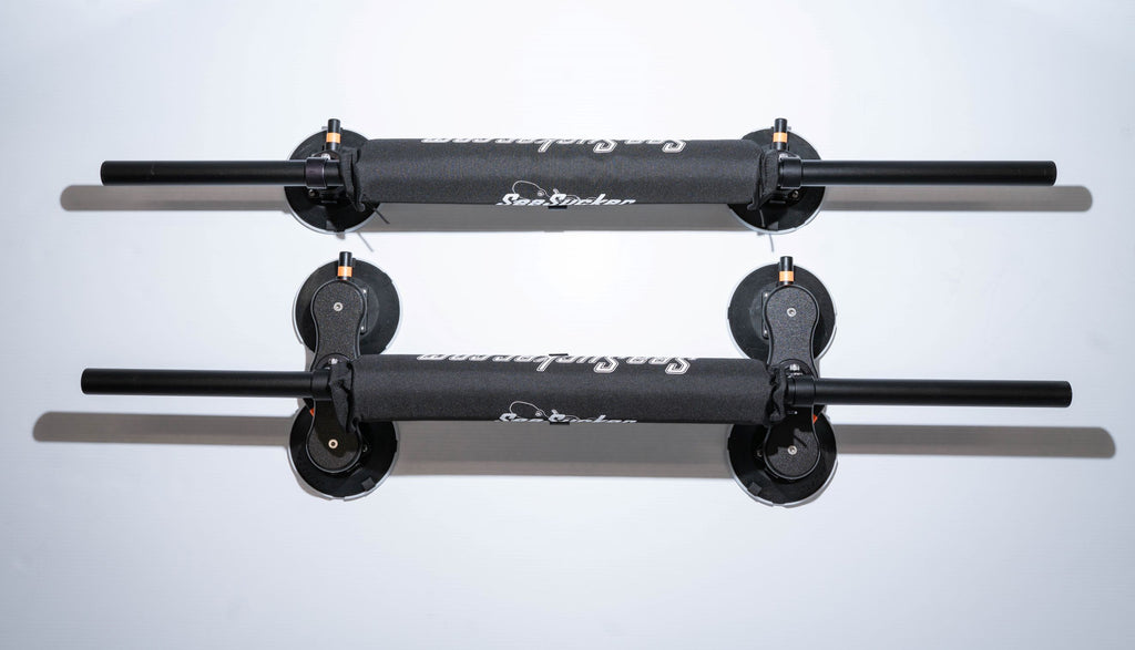 "These one-size fits all Monkey Bars are 48"" long round black-anodized aluminum cross bars to which you can attach accessories for activities such as kayaking, skiing, surfing and paddle boarding, biking, or hauling cargo. Powered by 6"" SeaSucker vacuum mounts (4 up front and 2 in the rear), the Monkey Bars fit on just about any car with a roof. The vacuum mounts can be moved to any position on the bar to ensure a perfect fit for any vehicle."