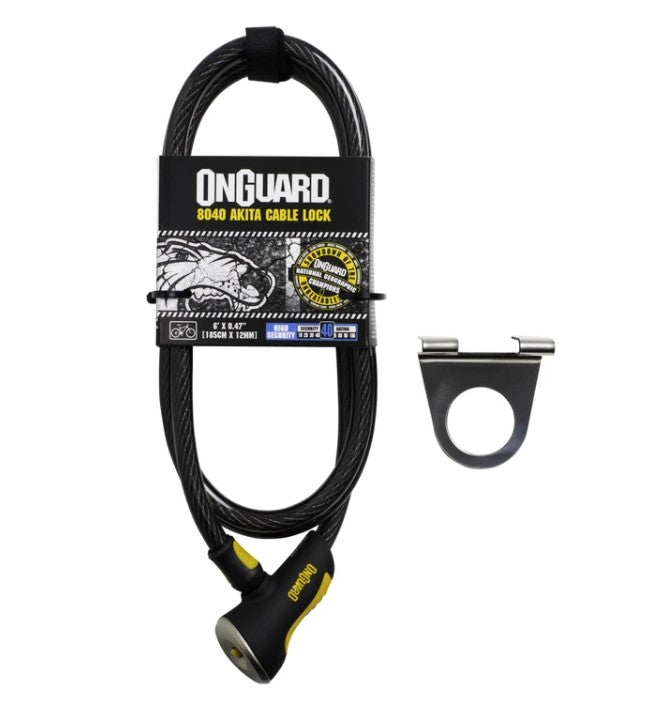 The Cable Anchor for your window comes with a sturdy OnGuard 8040 Akita cable lock. The plastic-coated cable is 12mm thick and 6' long.