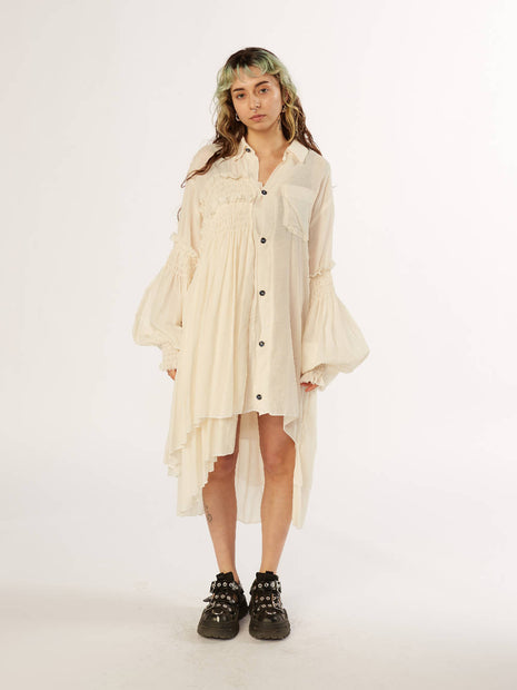 Natural loose-woven cotton Shirt dress