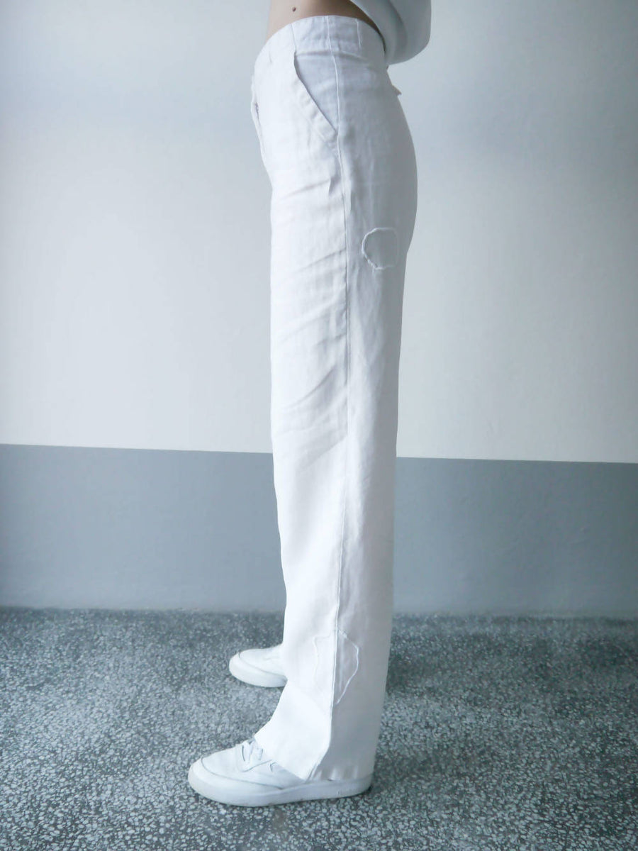 MENDED LINEN TROUSERS