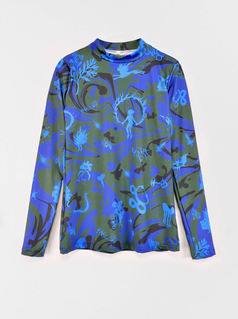 Load image into Gallery viewer, Patterned Blue Long Sleeve