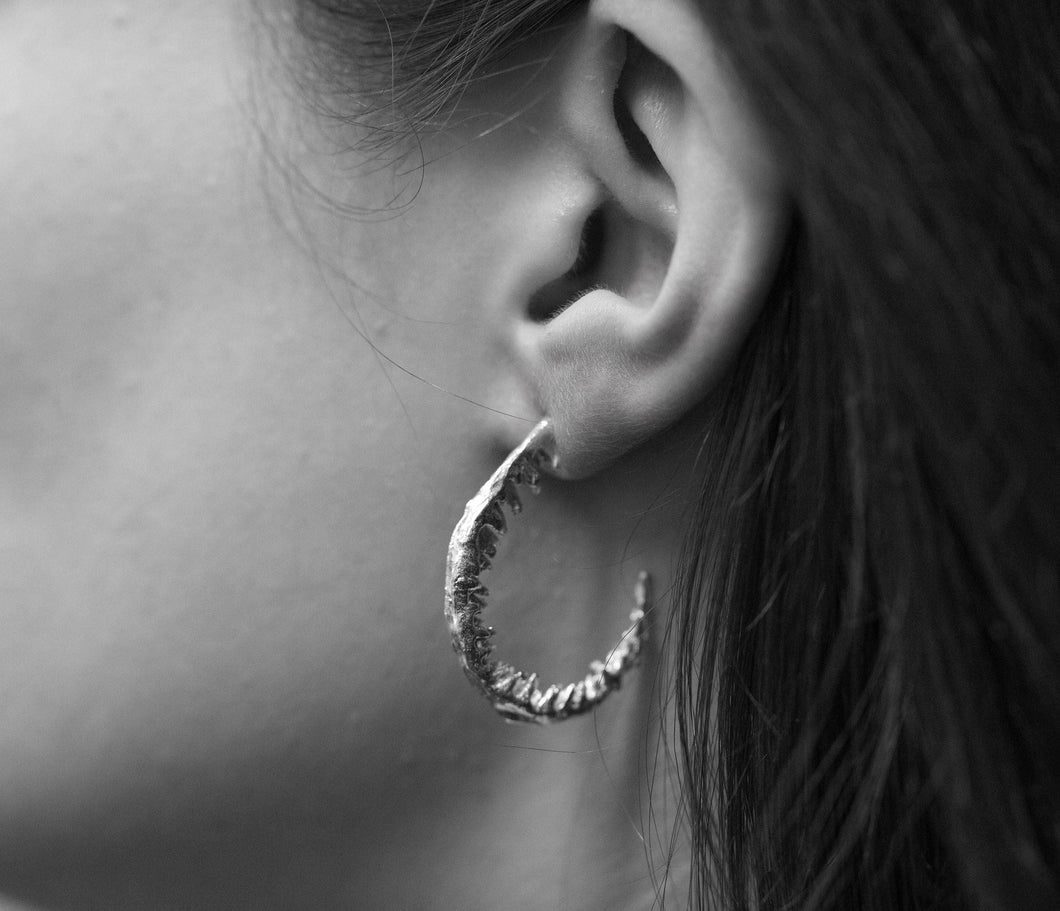 Load image into Gallery viewer, Fern hoop earrings