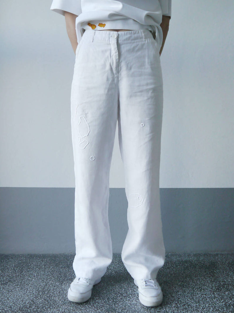 Load image into Gallery viewer, MENDED LINEN TROUSERS