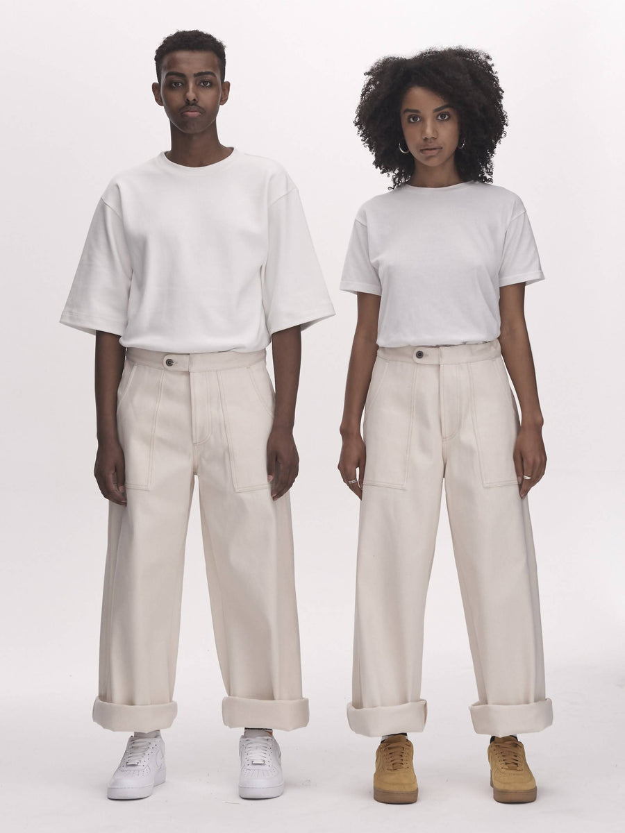 UNISEX PAINTER PANTS - ECRU