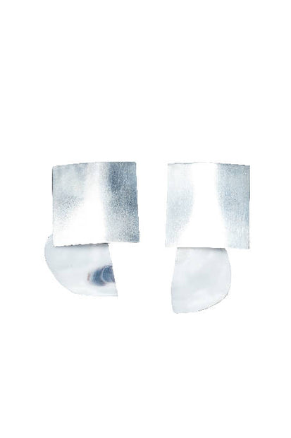 WHITE OYSTER BIG SILVER SQUARE EARRING