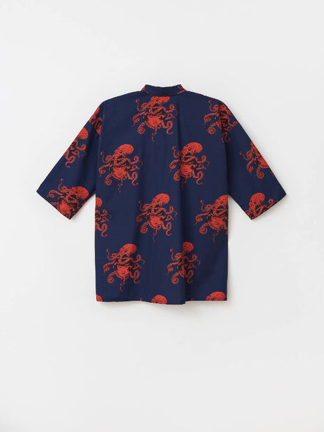 GIRL WITH OCTOPUS SHIRT SHORT SLEEVE NAVY BLUE