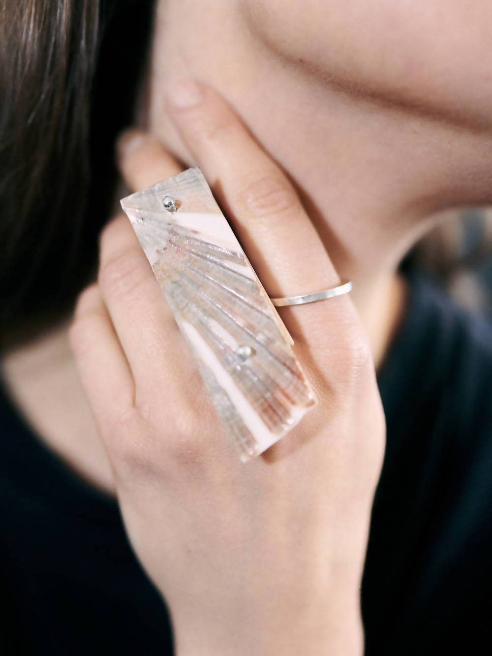 SCALLOP RECTANGLE RING