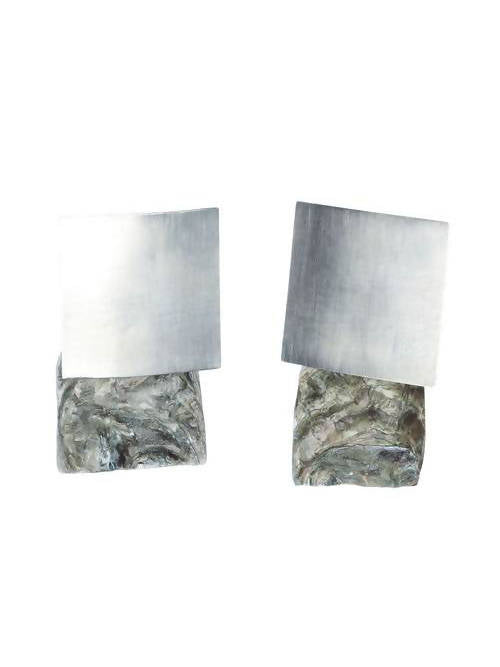 GREEN OYSTER BIG SILVER SQUARE EARRING