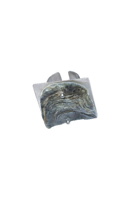 OYSTER SILVER SQUARE RING