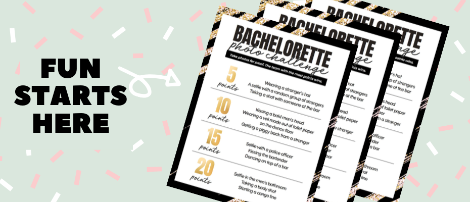 Bachelorette Scavenger Hunt Bachelorette Free printables Bachelorette Photo Challenge Bachelorette party games
