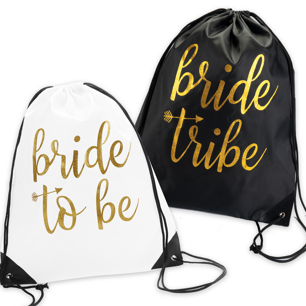 Bachelorette Bag Set- Bride and Bride Tribe Drawstring bags