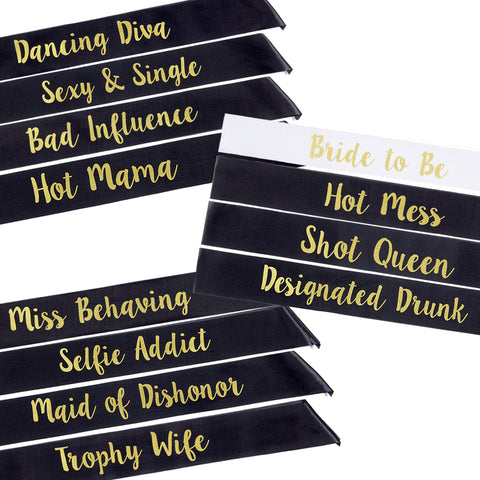 Bachelorette Party Sashes- black and gold, cursive font