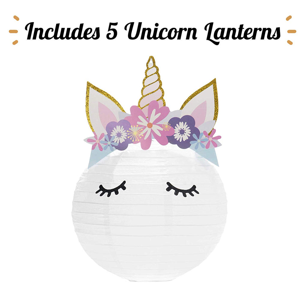 Unicorn Party Decorations- Set of 5 Hanging Lanterns