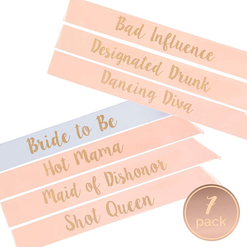 Bachelorette Party Sashes - rose gold, cursive font