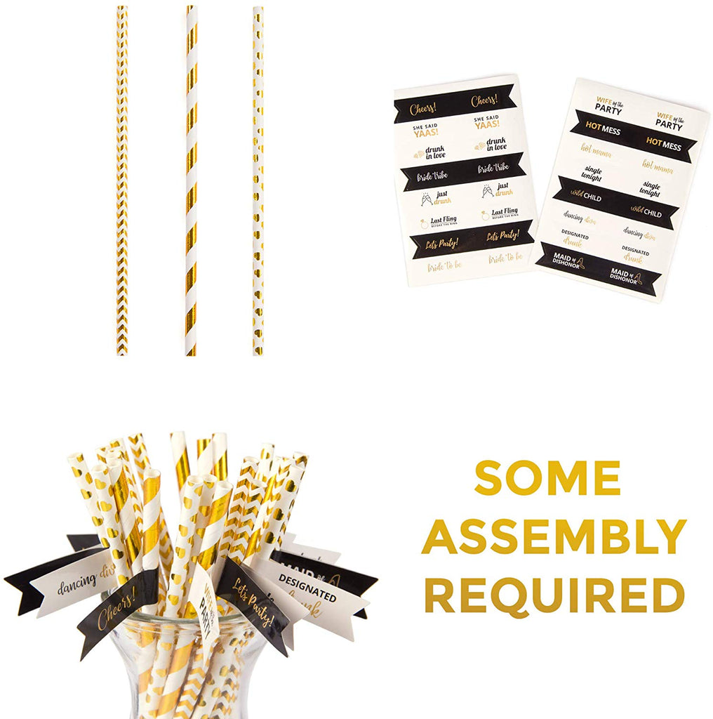 Bachelorette Straws- Gold Paper Straws with Banners