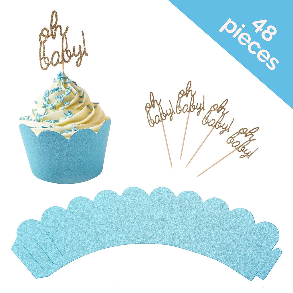 """Oh Baby"" Blue cupcake toppers with matching scalloped wrappers"