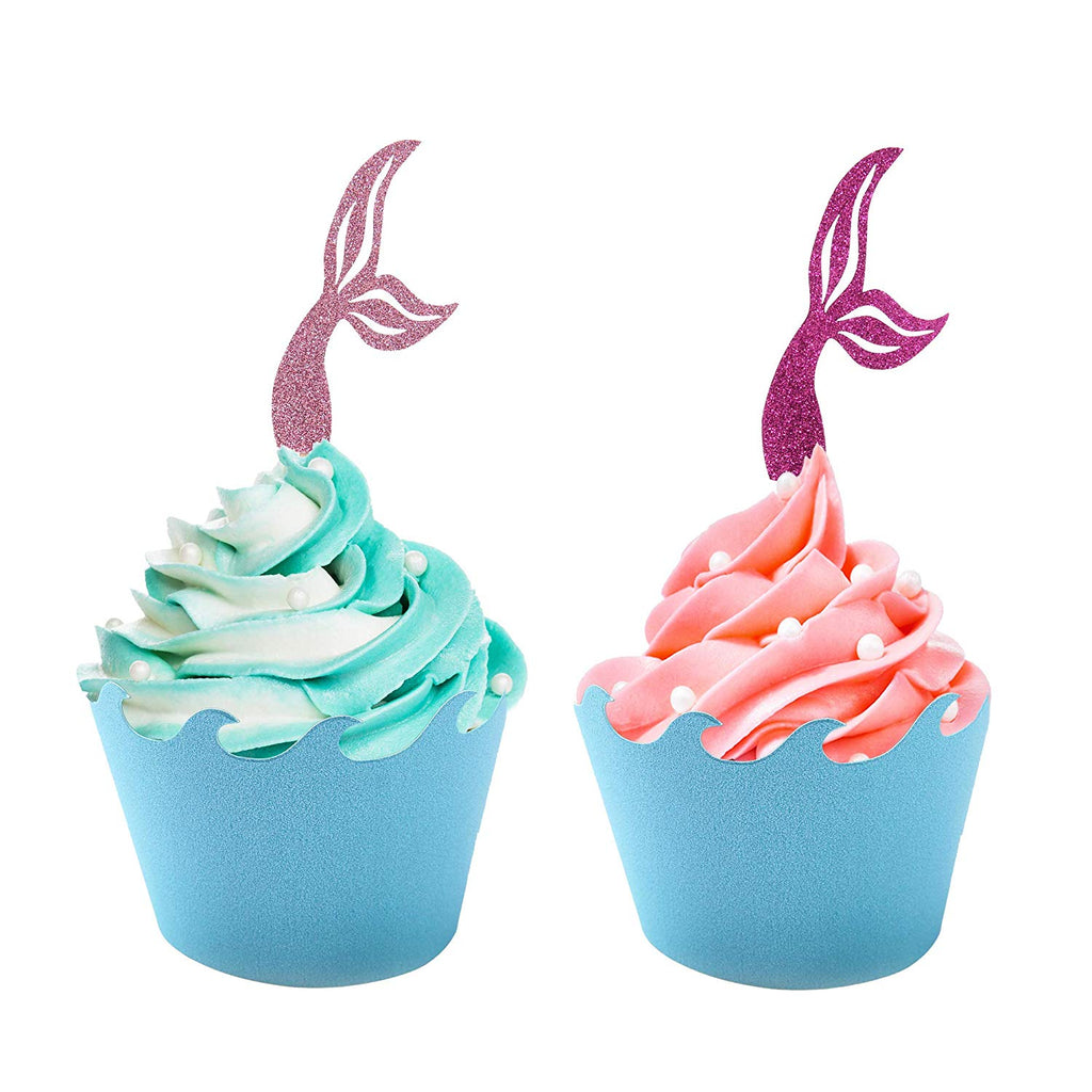 Mermaid Cupcake Toppers with Ocean Wrapper Set