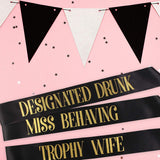 DANCING DIVA (Tm) Bachelorette Party Sash Set- black and gold lettering, block font
