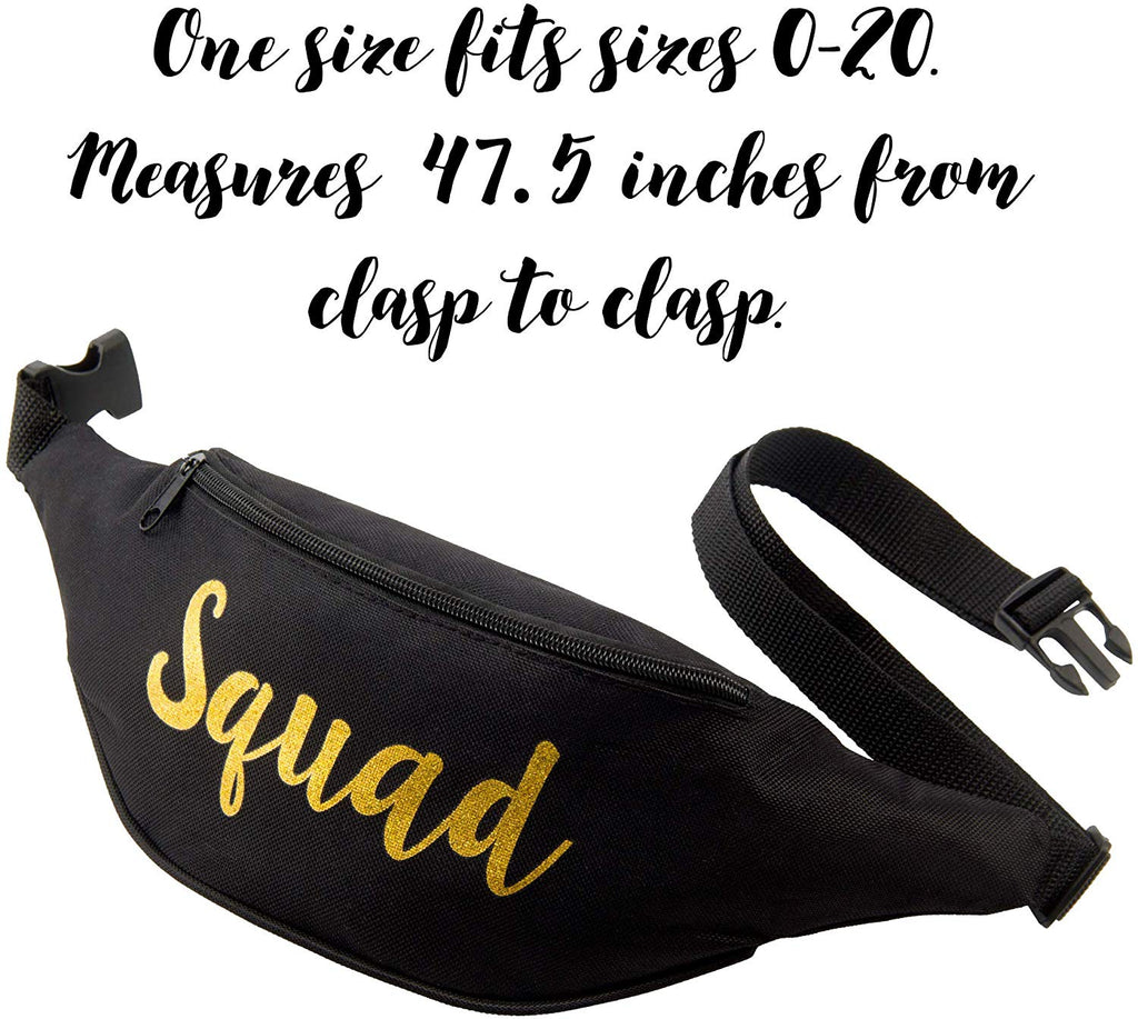 Bachelorette Fanny Packs (Black Squad Cursive, 12 Pack)