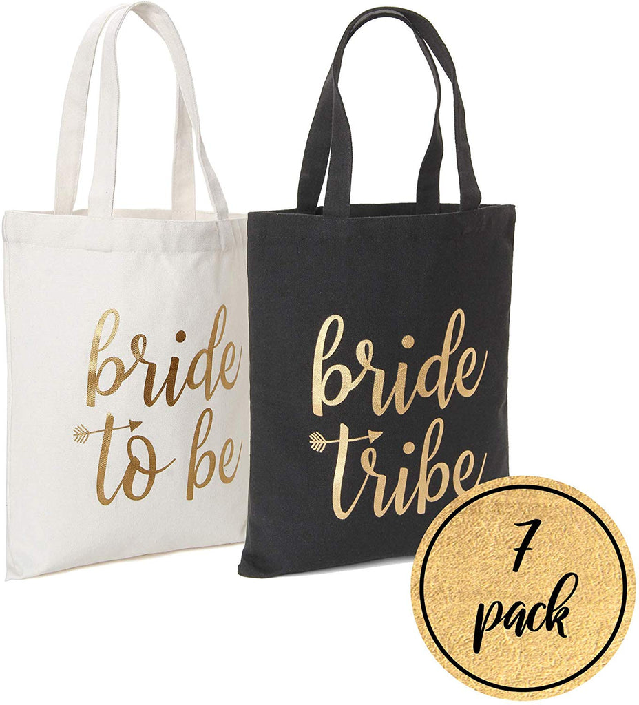 Bride Tribe Bags- Black Bridesmaid Canvas Totes and White Bride Bag