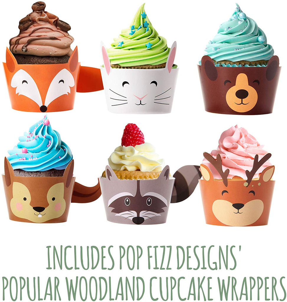 Woodland Creatures Party Pack | Plates, Napkins, Cups, Silverware, and Cupcake Wrappers