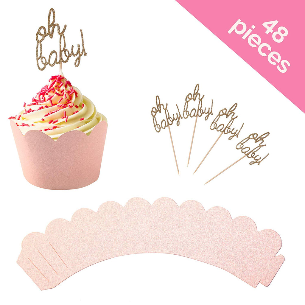 """Oh Baby"" Pink Cupcake Toppers with Scalloped Cupcake Wrappers (Set of 24)"