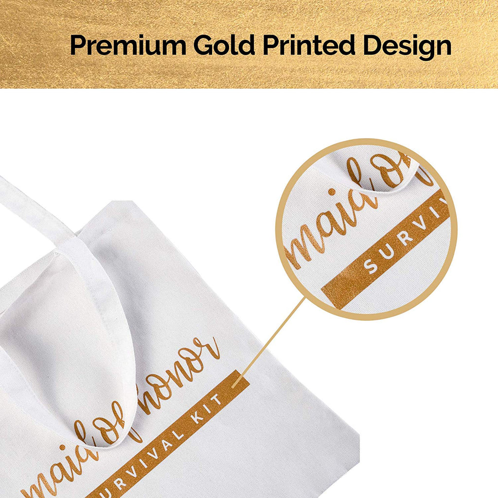 Bridesmaid Tote Bags - White and Gold
