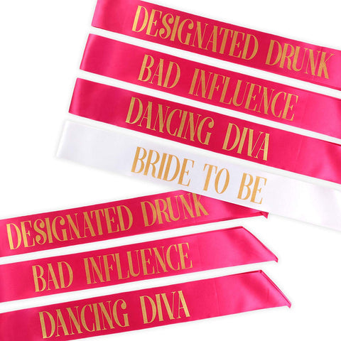 Bachelorette Party Sashes- hot pink, gold lettering