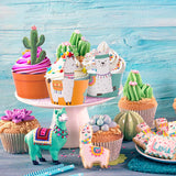 Llama Cupcake Wrappers and Cactus Cupcake Toppers (set of 24)