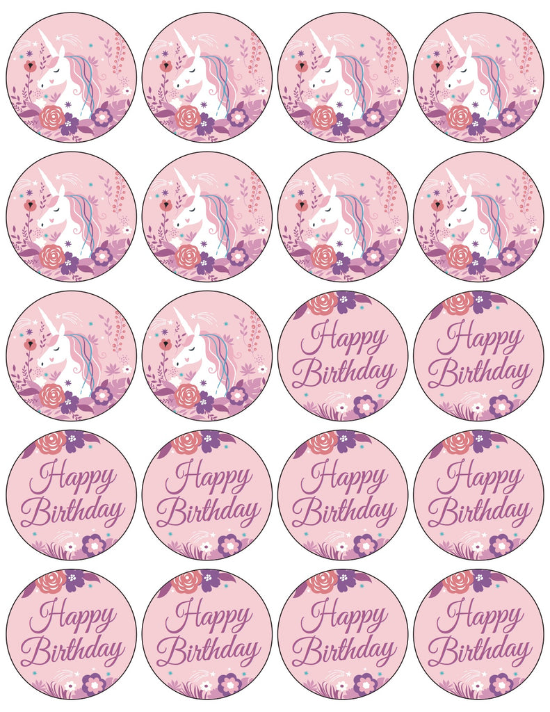 Pink Unicorn Cupcake Toppers Free Printable