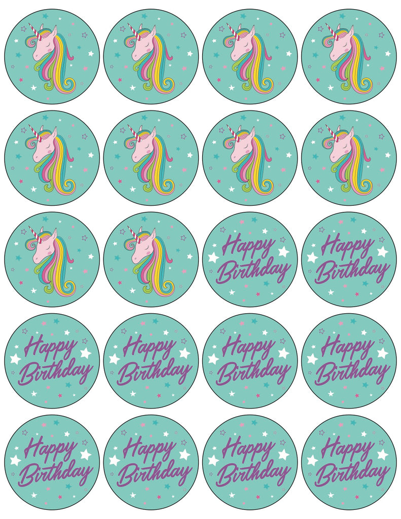 Teal Unicorn Cupcake Toppers Free Printable