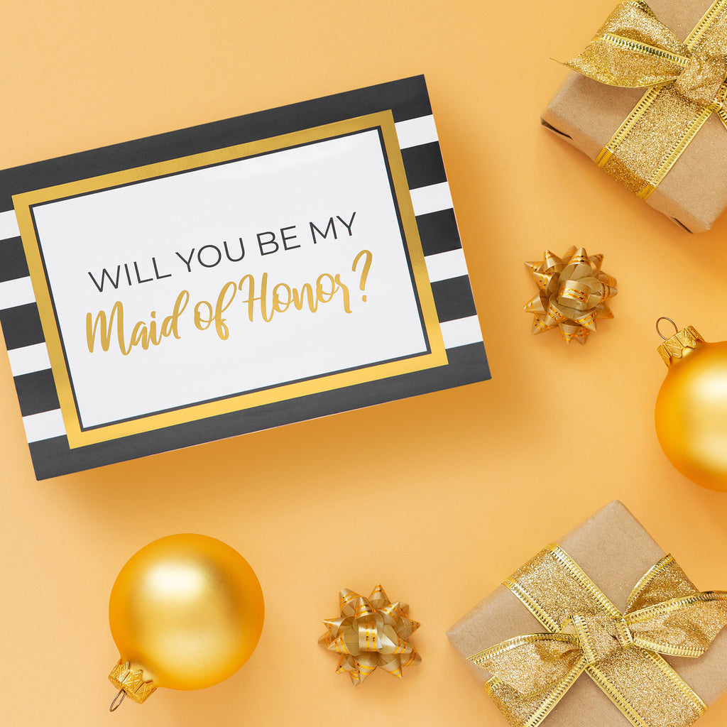 Stripes with Gold Foil Bridesmaid Box Set