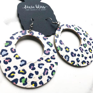 "Dixie Bliss Drop Earrings- ""Catalina in Flirty Leopard"""