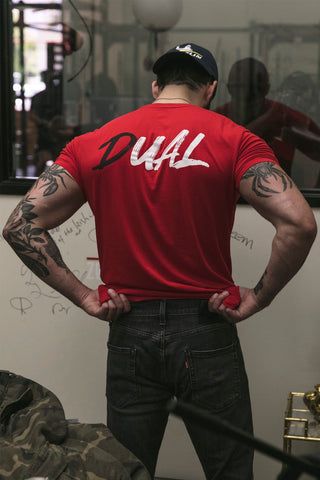 Dual Back Logo T-Shirt- Red