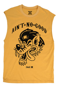 Dual Ain't No Good Muscle Tank- Mustard Gold
